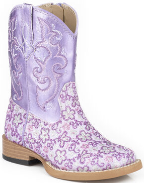 Roper Toddler Girls' Lavender Floral Glitter Cowgirl Boots - Square Toe , Purple, hi-res
