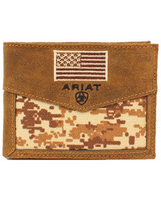 Ariat Men's Bi-fold American Flag Wallet, Camouflage, hi-res