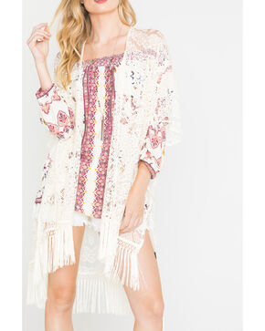 Shyanne Women's Cream Fringe Lace Poncho, Cream, hi-res