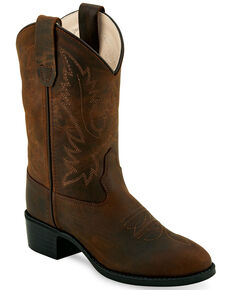 "Old West Boys' Brown 9"" Western Boots - Round Toe, Brown, hi-res"