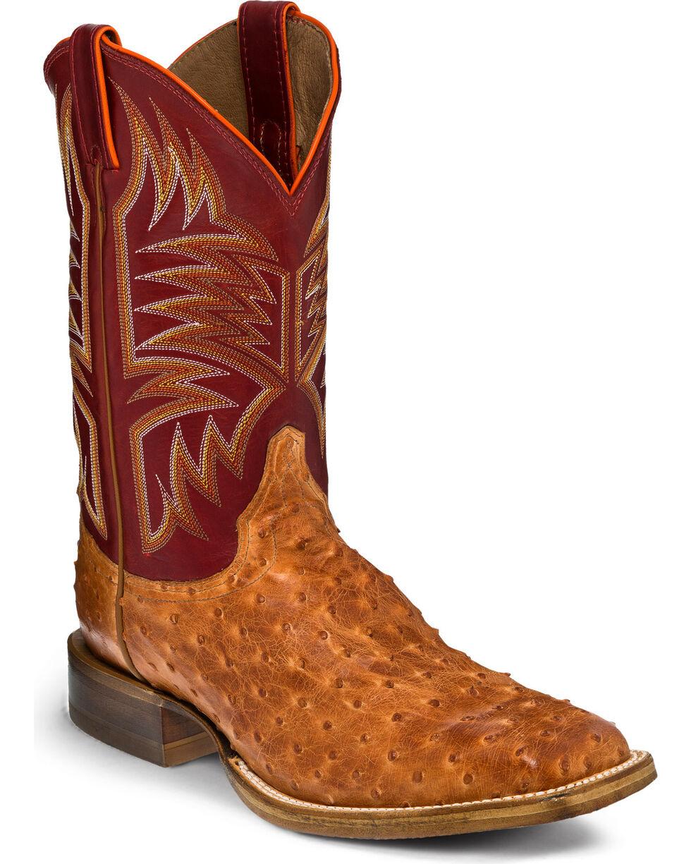 Justin Men's Cognac Full Quill Ostrich Hybrid Sole Cowboy Boots - Square Toe, Cognac, hi-res