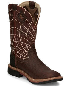 Justin Men's Derrickman Western Work Boots - Soft Toe, Rust Copper, hi-res