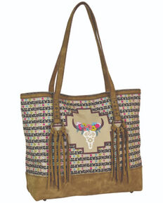 Catchfly Women's Floral Cow Skull Tote Bag, Brown, hi-res