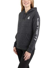 Carhartt Women's Black Heather Clarksburg Sleeve Logo Hooded Sweatshirt , Black, hi-res