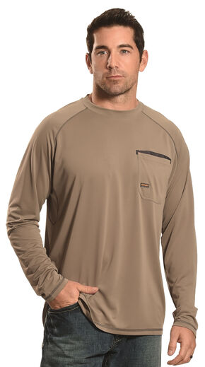 Ariat Men's Rebar Sun Stopper Long Sleeve Shirt , Brown, hi-res