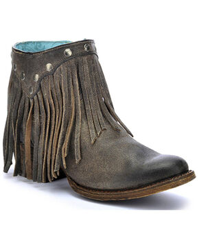 Corral Women's Fringe Booties - Round Toe, Grey, hi-res