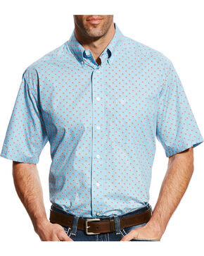 Ariat Men's Casual Series Falken Print Short Sleeve Button Down Shirt, Blue, hi-res