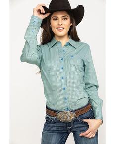 dd4ddd5a587 Cinch Womens Blue Print Button Down Long Sleeve Western Shirt