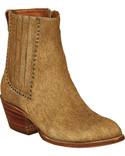 Lucchese Handmade Tan Hair-On Calf Adele Cowgirl Booties - Pointed Toe , Natural, hi-res