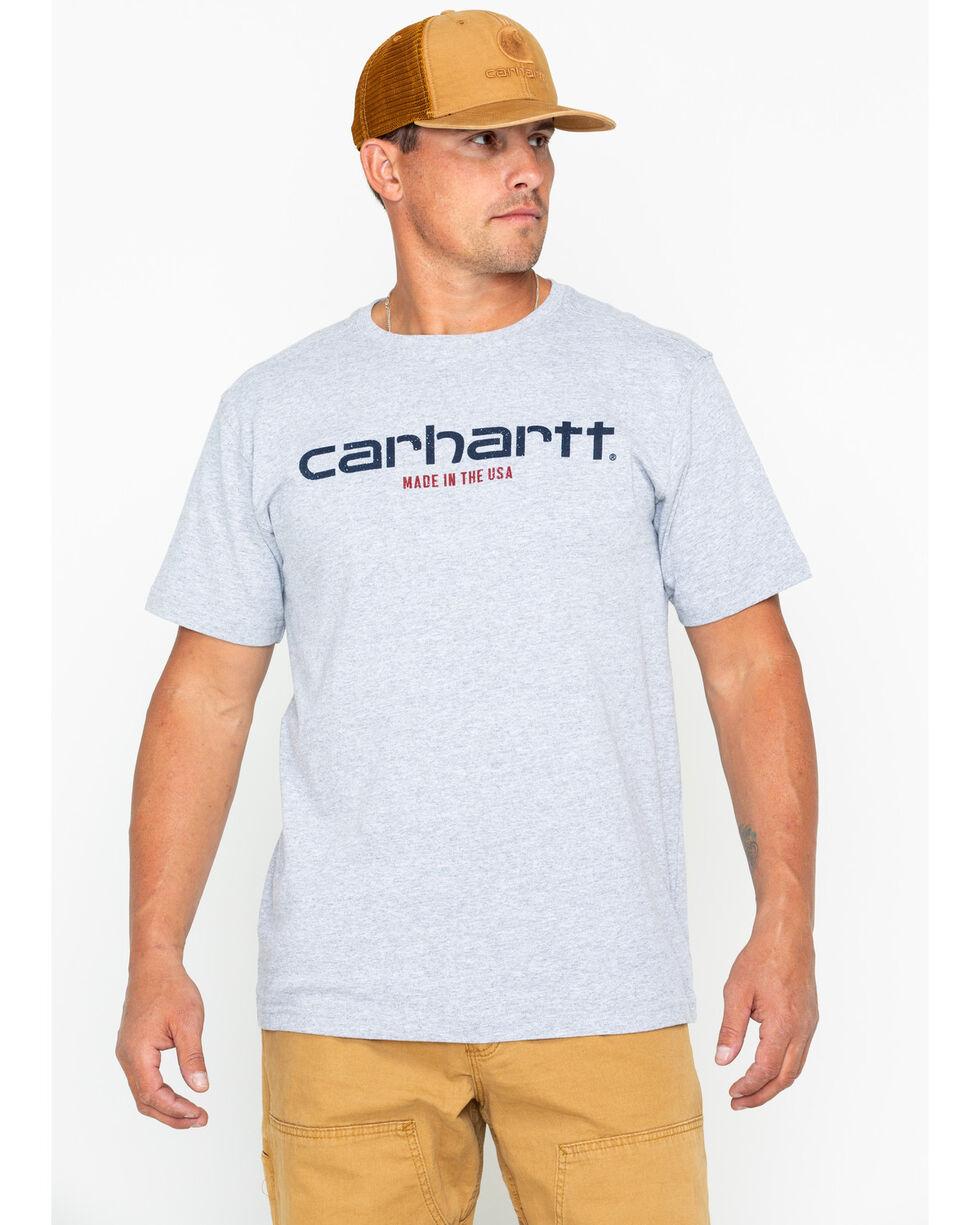 Carhartt Men's Gray Lubbock Graphic in USA Tee , Heather Grey, hi-res