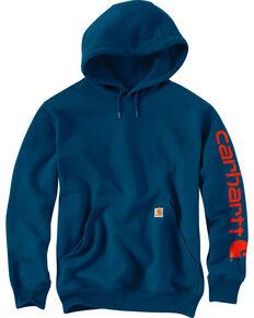 Carhartt Men's Blue Midweight Hooded Logo Sweatshirt - Tall , Blue, hi-res