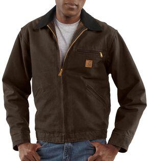 Carhartt Blanket Lined Sandstone Detroit Work Jacket - Big & Tall, Dark Brown, hi-res