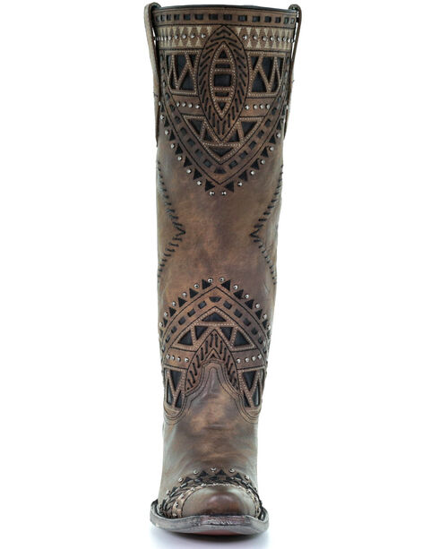 Corral Women's Distressed Brown Inlay Studded Cowgirl Boots - Snip Toe, Brown, hi-res