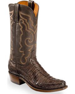 Lucchese Men's Brown Franklin Hornback Caiman Tail Boots - Snip Toe , Dark Brown, hi-res