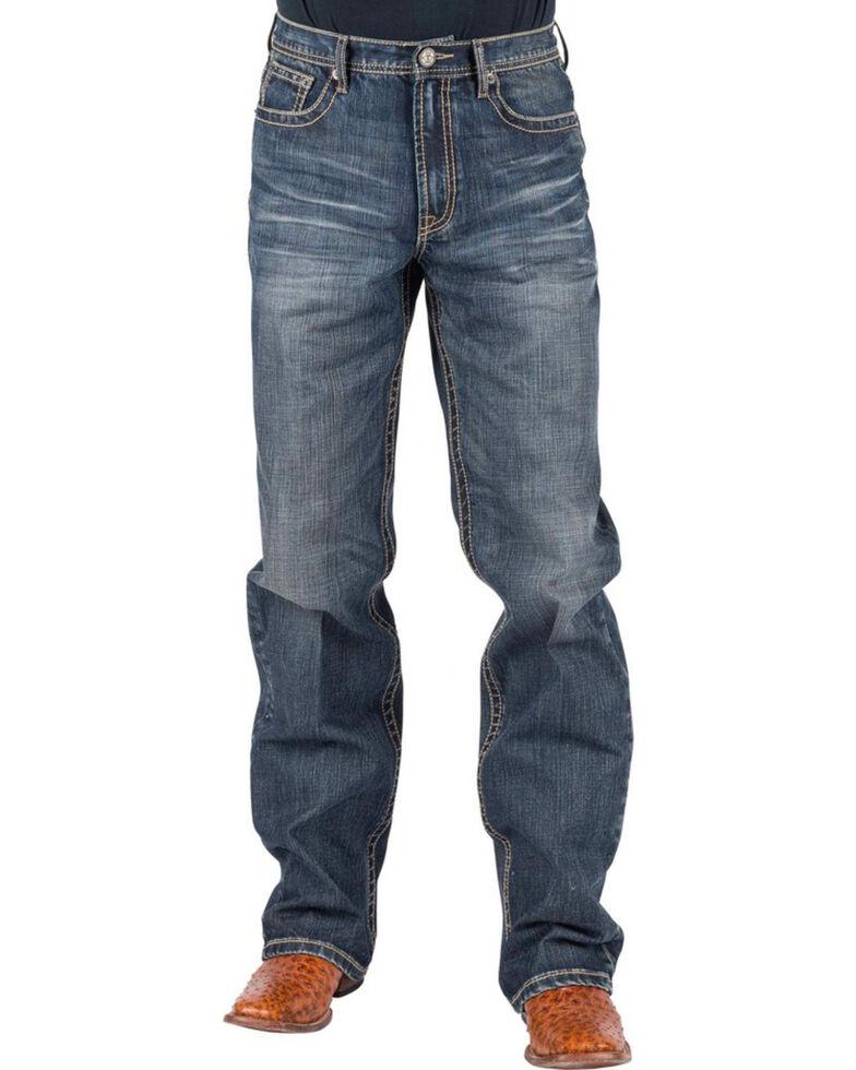 Tin Haul Men's Regular Joe Fit Red Deco Stitching Jeans - Boot Cut, Indigo, hi-res