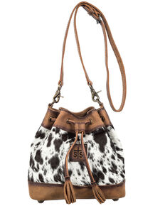 STS Ranchwear Women's Cowhide Bucket Bag, Black, hi-res