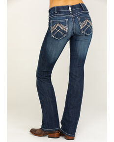 Ariat Women's R.E.A.L. Low Rise Rosy Whipstitch Boot Cut Jeans, Blue, hi-res