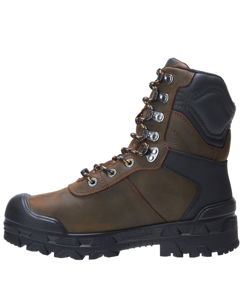 Wolverine Men's Warrior Met Guard Work Boots - Composite Toe, Dark Brown, hi-res