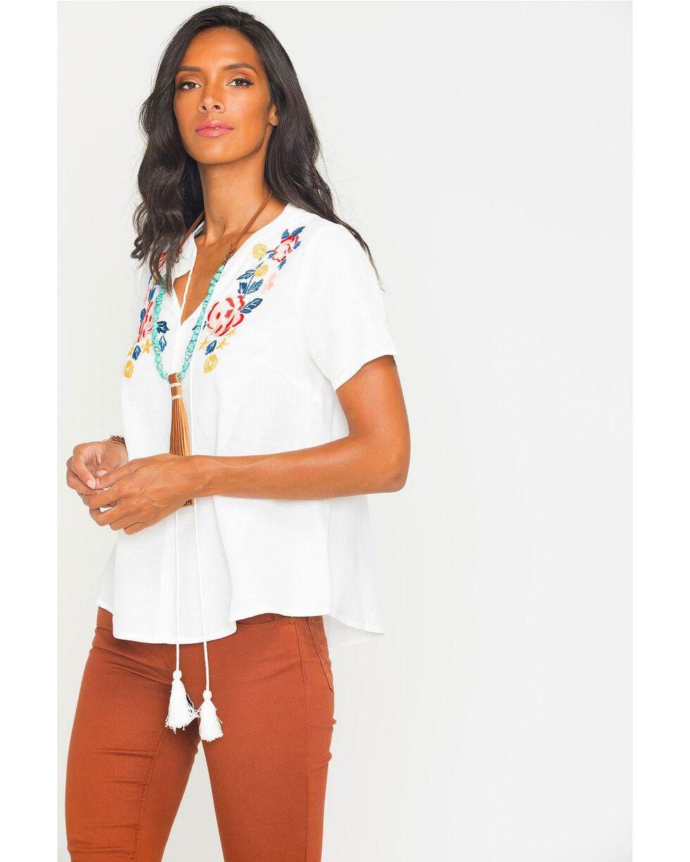 Polagram Women's Floral Embroidery Tie Neck Top , White, hi-res