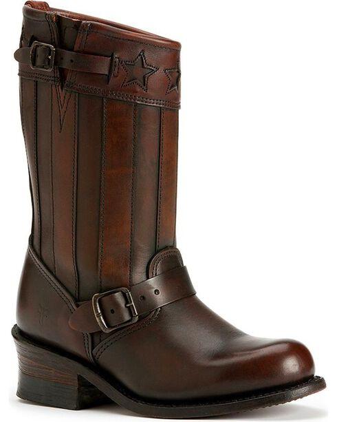 Frye Women's Engineer Americana Short Boots - Round Toe, Dark Brown, hi-res