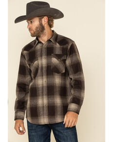 Pendleton Men's Brown Canyon Large Ombre Plaid Long Sleeve Western Shirt , Brown, hi-res