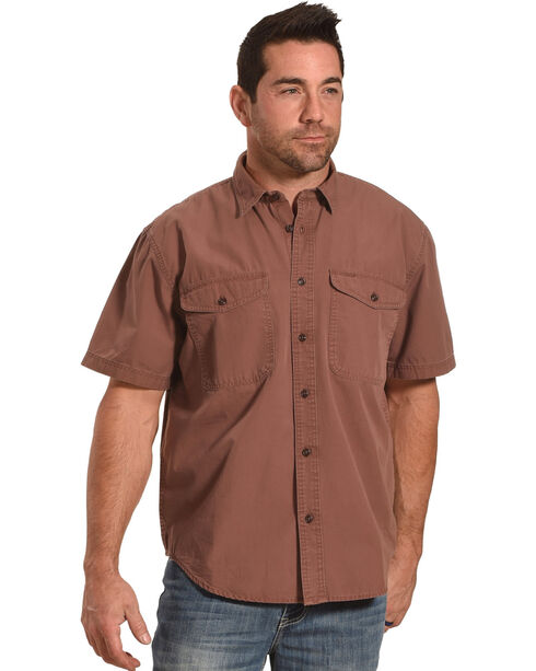 Filson Men's Burgundy Short Sleeve Field Shirt , Burgundy, hi-res