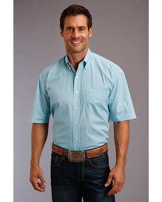 Stetson Men's Lattice Geo Print Short Sleeve Western Shirt , Blue, hi-res