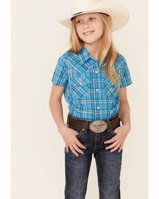 Ely Walker Girls' Assorted Lurex Plaid Short Sleeve Snap Western Shirt , Turquoise, hi-res