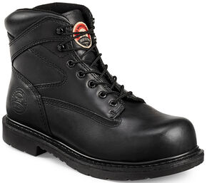 "Irish Setter by Red Wing Shoes Men's Black Farmington 6"" Work Boots - Steel Toe , Black, hi-res"