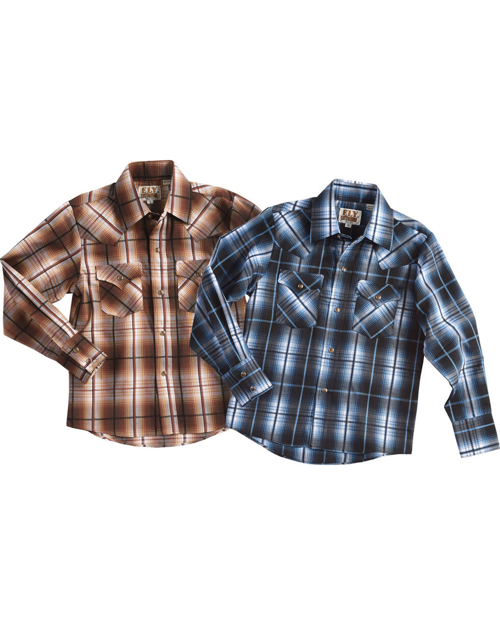 Ely Cattleman Boys' Assorted Textured Plaid Long Sleeve Shirts, Multi, hi-res