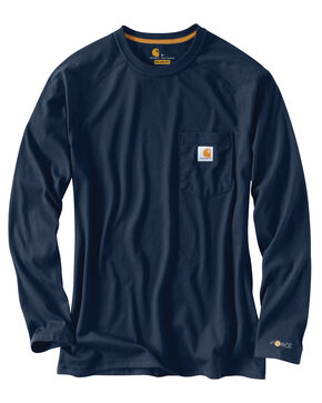 Carhartt Force Long Sleeve Work Shirt - Big & Tall, Navy, hi-res