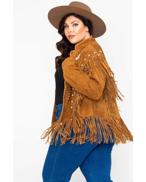 Liberty Wear Bone Bead & Fringe Leather Jacket - Plus, Tobacco, hi-res