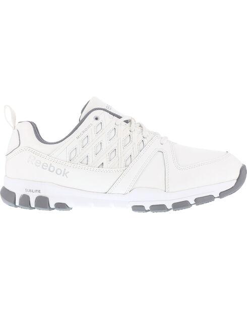 Reebok Men's Sublite Athletic Oxford Work Shoes - Soft Toe , White, hi-res