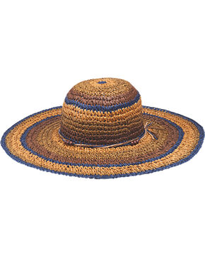 "Peter Grimm Christi 4 1/4"" Striped Sun Hat, Brown, hi-res"