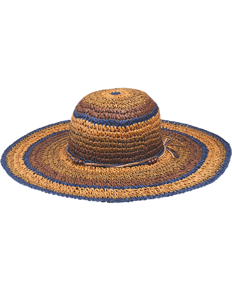 "Peter Grimm Christi 4 1/4"" Striped Sun Hat, Brown, hi-res"