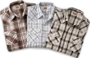Ely Assorted Plaid or Stripe Short Sleeve Western Shirt, Plaid, hi-res