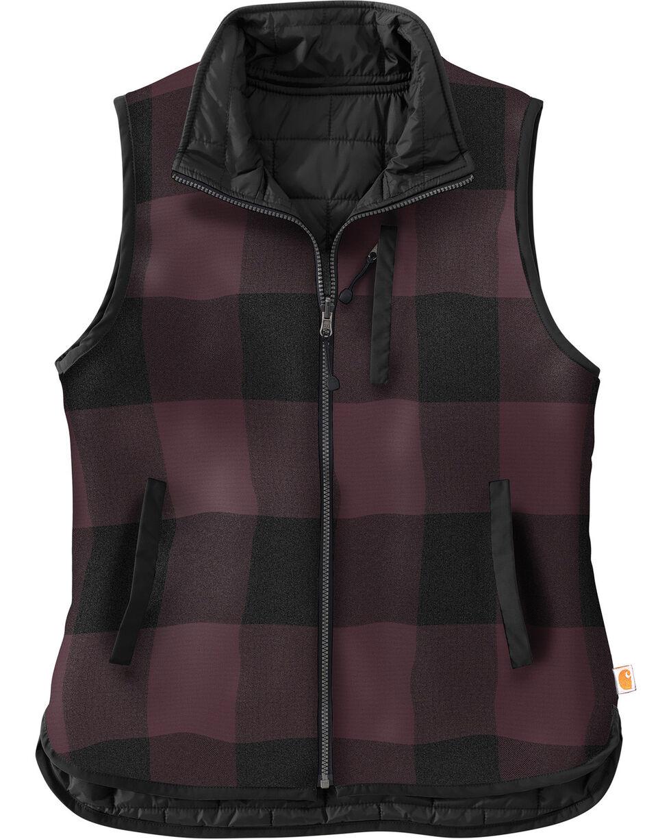 Carhartt Women's Black Amoret Flannel Lined Vest , Black, hi-res