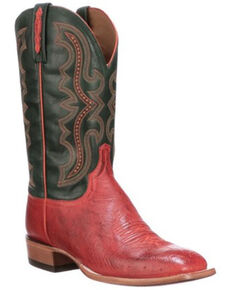 Lucchese Men's Cecil Exotic Ostrich Skin Western Boots - Wide Square Toe, Red, hi-res