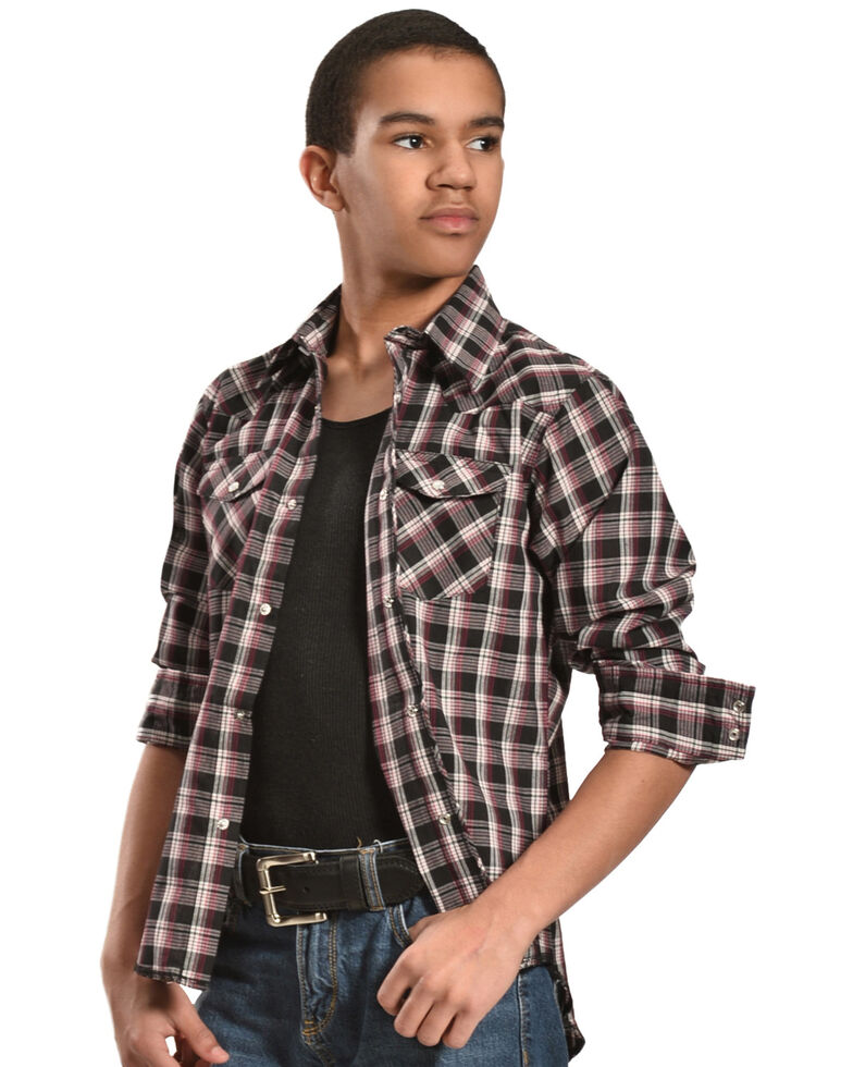 Wrangler Boys' Assorted Plaid Long Sleeve Western Shirt , Plaid, hi-res