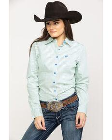 9ba6abdb67cb45 Cinch Womens Blue Stripe Button Down Long Sleeve Western Shirt