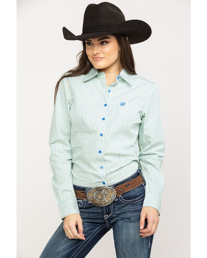 cd8f6fc0 Zoomed Image Cinch Women's Blue Stripe Button Down Long Sleeve Western Shirt  , Multi, hi-res