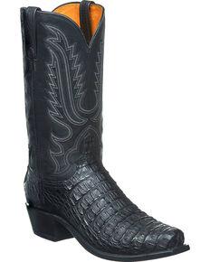 Lucchese Men's Walter Hornback Caiman Western Boots - Snip Toe, Black, hi-res