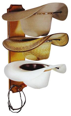 BB Ranch® Rolled Oak 3 Tiered Cowboy Hat Rack, Light Brown, hi-res