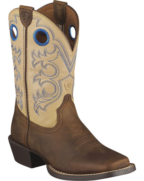 Ariat Children's Crossfire Cowboy Boots - Square Toe, Distressed, hi-res