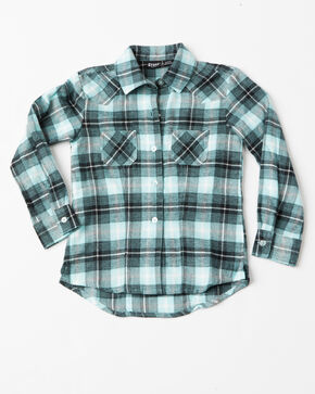 Cruel Girl Girls Brushed Twill Plaid Western Shirt , Blue, hi-res