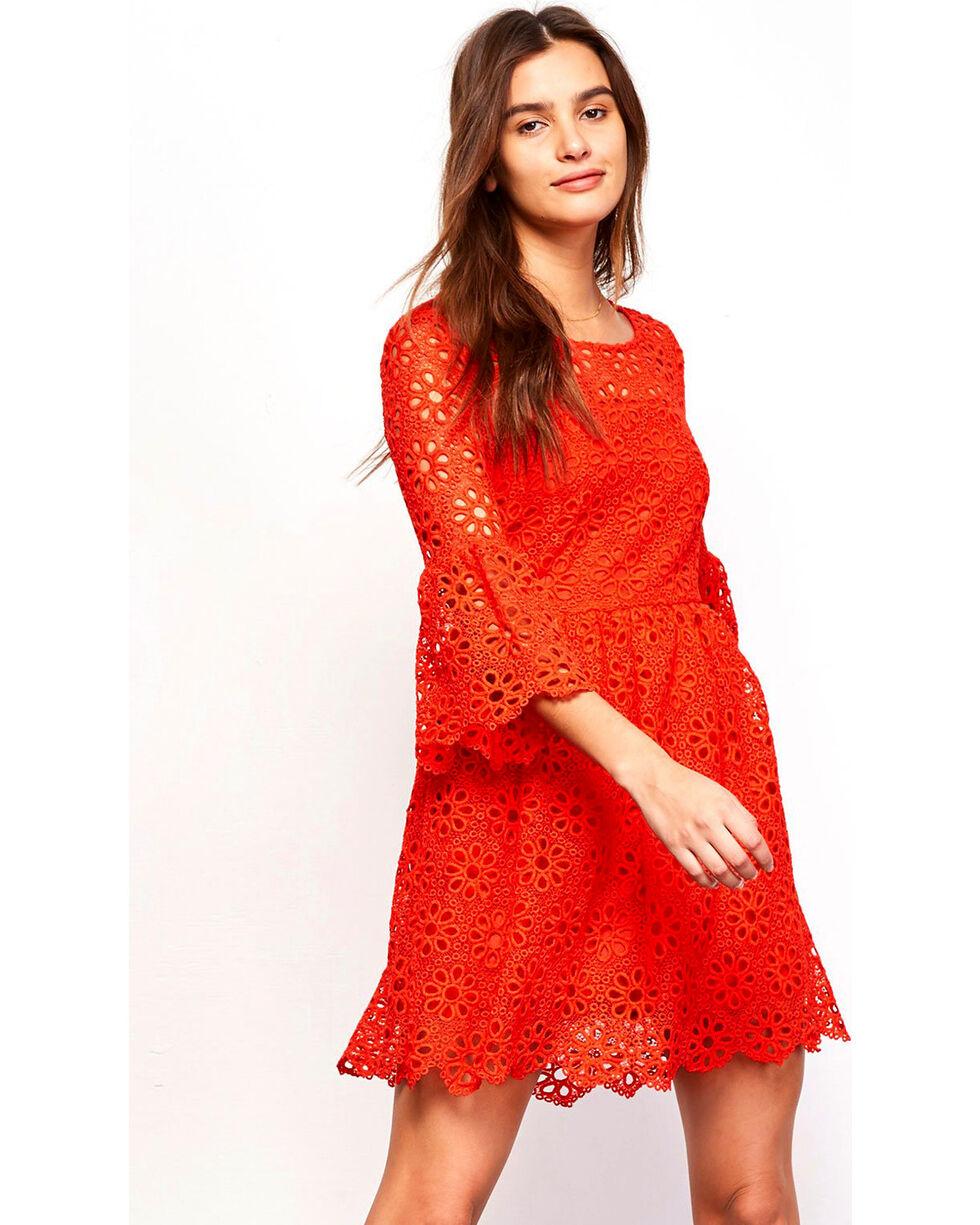 Jack Women's Eyelet Lauper Dress , Red, hi-res