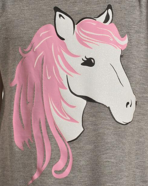 Shyanne Girls' Glittering Horse Tie-Back Top, Grey, hi-res