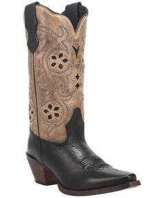 Laredo Women's Diamond In The Rough Western Boots - Snip Toe, Black/tan, hi-res