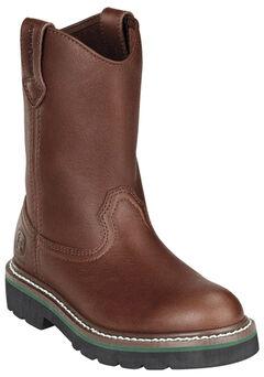 John Deere Boys' Johnny Popper Roper Western Boots - Round Toe, Brown, hi-res