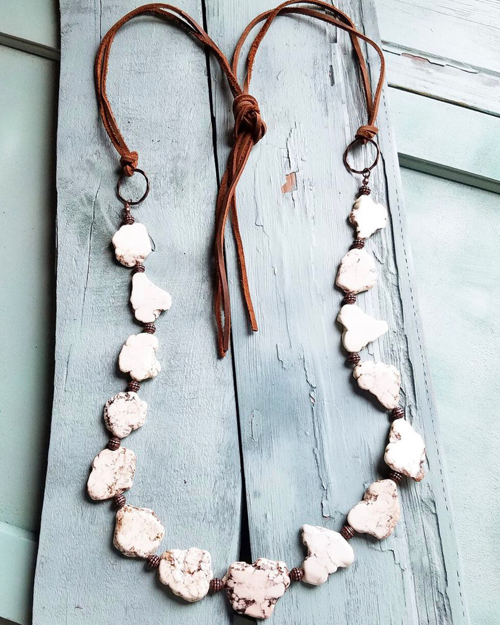 Jewelry Junkie Women's White Turquoise Slab Necklace, White, hi-res